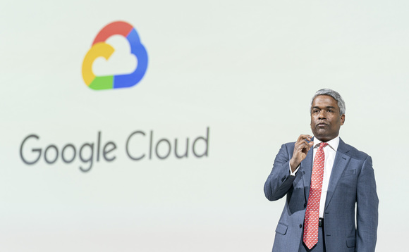 Thomas Kurian, CEO Google Cloud, onstage at the vendor's Next event in London